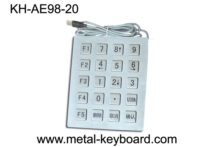 IP65 Industrial Metal Kiosk Keypad with 20 Keys , USB Port security keypads