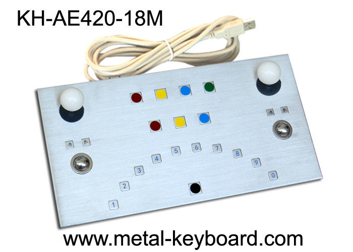 Vandalism proof Metal panel Industrial Metal keyboard 18 Keys with USB / PS2 Interface