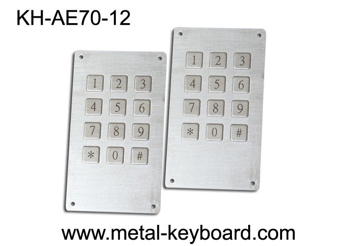 Industrial Stainless Steel Kiosk Keyboard with 12 Keys / 7 Pin Connector