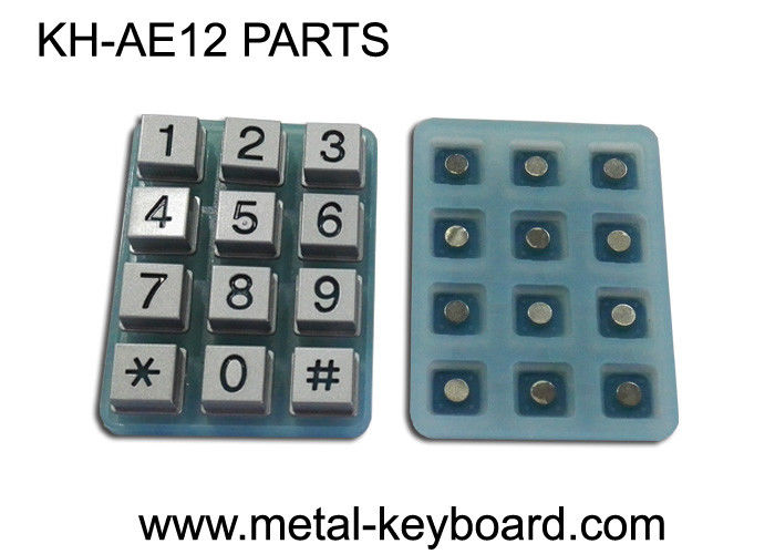 Industrial 12 Keys Customizable Keypad Parts Silicon Membrane With Metal Buttons
